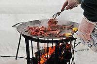 Frying reindeer meat over an open flame - Photos from Jokkmokk, Arctic Sweden