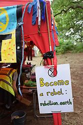 Latitude Festival, Henham Park, Suffolk, UK July 2019. Extinction Rebellion Cambridge area in the Woods