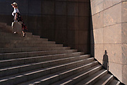In the week that many more Londoners returned to their office workplaces after the Covid pandemic and the summer holidays, commuters use the stairs at the southern end of London Bridge in Southwark, on 8th September 2021, in London, England.