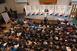 © licensed to London News Pictures. London, UK 10/04/2012. Boris Johnson explaining his 9 Point Plan for Greater London as he launches his campaign to be Mayor of London again, at Duke Street Church in Richmond, this noon (10/04/12). Photo credit: Tolga Akmen/LNP