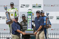 July 8, 2018 - Newton, Iowa, United States of America - JAMES HINCHCLIFFE (5) of Canada finishes in P1, SPENCER PIGOT (21) of the United State finishes in P2, and TAKUMA SATO (30) of Japan finishes in P3 in the Iowa Corn 300 at Iowa Speedway in Newton, Iowa. (Credit Image: © Justin R. Noe Asp Inc/ASP via ZUMA Wire)