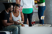 """Guests eat lunch before a screening of BET's """"Being Mary Jane"""" at the W Hotel in Dallas, Texas on June 22, 2013."""