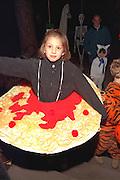 Miss Spaghetti age 10 tasting it up on Halloween night.  St Paul Minnesota USA