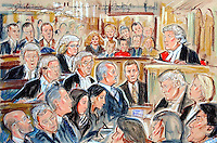 ©PRISCILLA COLEMAN ITV NEWS.ARTWORK SHOWS : GEORGE GALLOWAY(CENTRE) AT THE HIGH COURT WHERE HE WON HIS LIBEL ACTION AGAINST THE DAILY TELEGRAPH. MR JUSTICE EADY(RIGHT) AWARDED GALLOWAY PNDS STLG 150,000 IN DAMAGES.