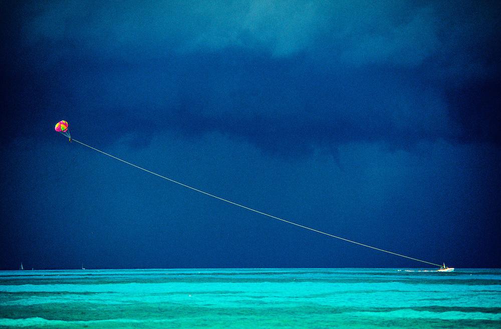 Parasailing in the Caribbean Sea, Cancun, Mexico