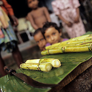 Sugar cane placed on a banana leaf and sold on the road in West Bengal, about forty km' south of Kolkata (Culcutta). in these remote vilages this is a favorite sweet snack for the children.