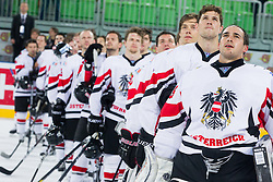 MVP Bernhard Starkbaum and other players of of Austria listening to the national anthem after the ice-hockey match between Austria and Great Britain at IIHF World Championship DIV. I Group A Slovenia 2012, on April 16, 2012 in Arena Stozice, Ljubljana, Slovenia. Austria defeated Great Britain 6-3. (Photo by Vid Ponikvar / Sportida.com)