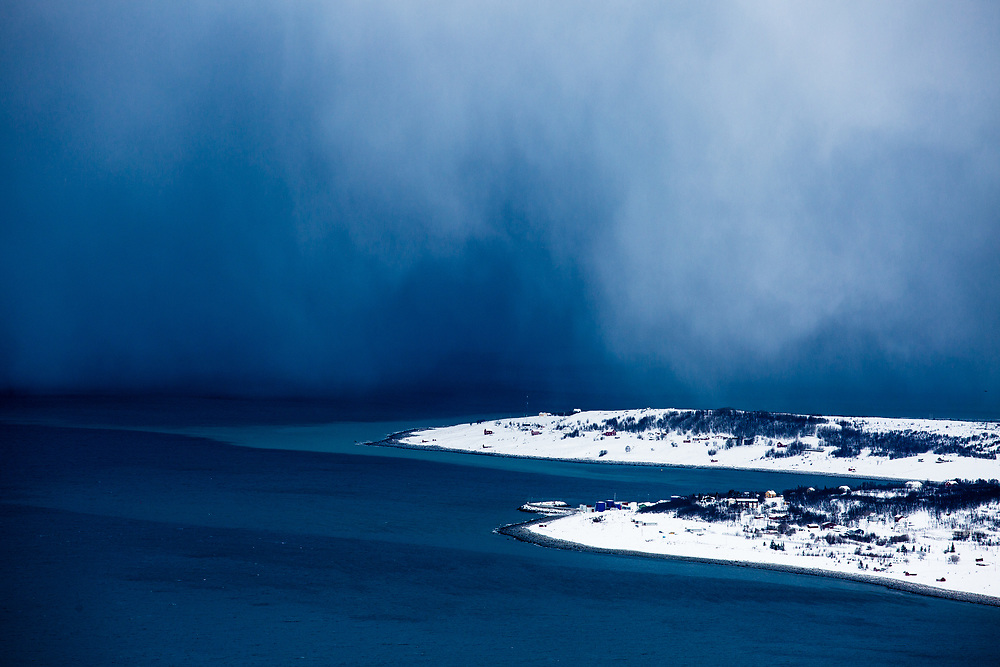 Storm approaching little village of Djupvik in the Northern Norway.