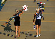 Zagreb, CROATIA.  Athletes carrying oars/blades to the boating area.  2000 FISA World Rowing Junior & Non-Olympic Seniors Championships   [Mandatory Credit Peter Spurrier/Intersport Images]