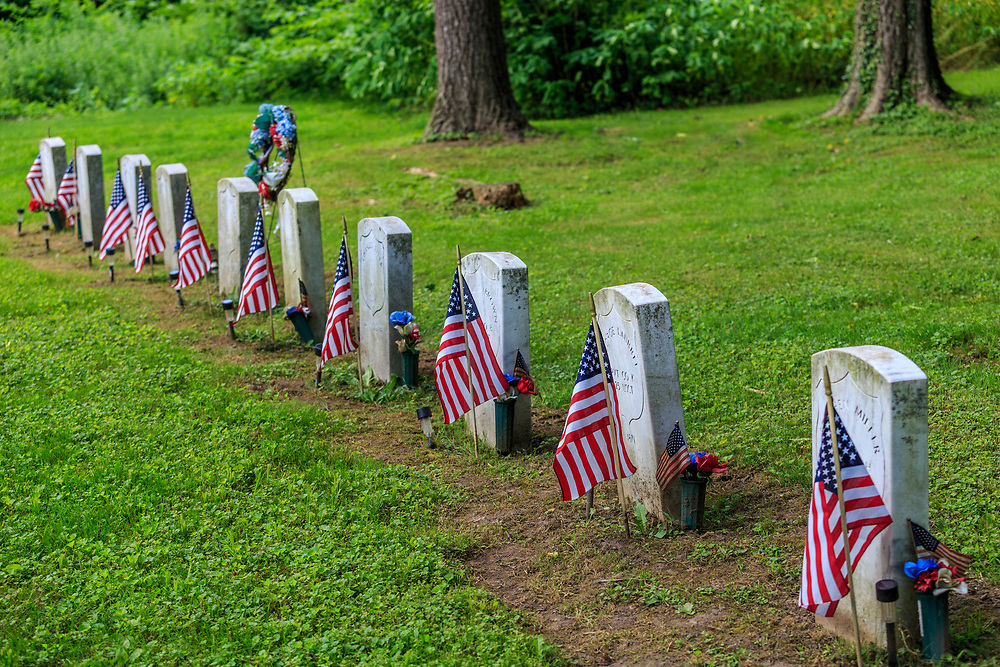 Columbia, Pa - June 11, 2016: Zion Hill Cemetery is the final resting place of Black Union soldiers, including seven who fought with the famous 54th Mass Company D regiment.