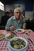Israel, West Jerusalem, a bowl of soup at Rachmo Restaurant, Ha Eshkol Street Machane Yehuda neighbourhood