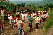 MEXICO, FESTIVALS, CINCO DE MAYO parade of rural school children in  a community near Poza Rica, Veracruz State