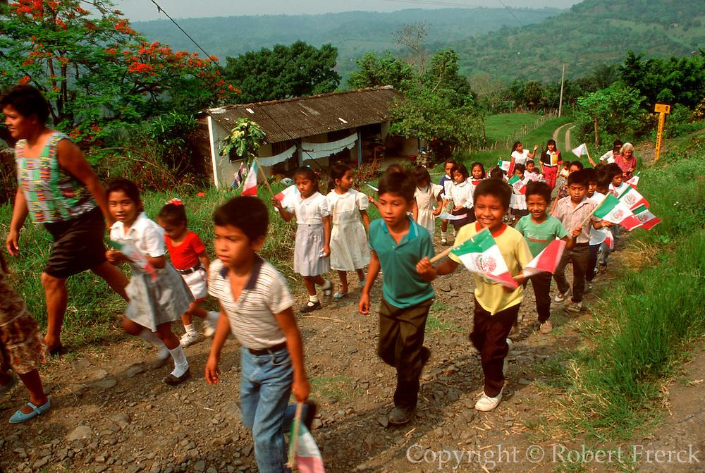 MEXICO, FESTIVALS, CINCO DE MAYO parade of rural school children in  a community near Poza Rica, Veracruz State
