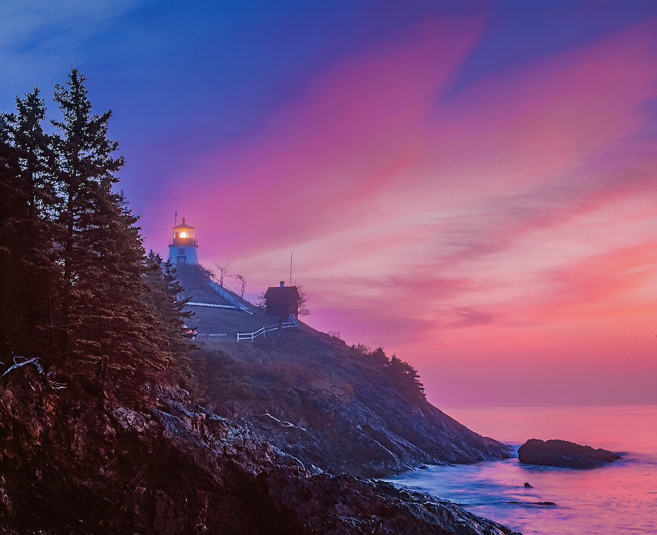 Owl's Head Lighthouse at Dawn, Pink Clouds & Fog,  Owls Head, ME