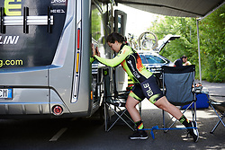 Chloe Hosking (AUS) pre-race exercises at Stage 2 of 2019 OVO Women's Tour, a 62.5 km road race starting and finishing in the Kent Cyclopark in Gravesend, United Kingdom on June 11, 2019. Photo by Sean Robinson/velofocus.com