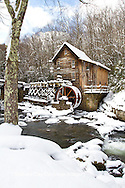 67395-04403 Glade Creek Grist Mill in winter, Babcock State Park, WV