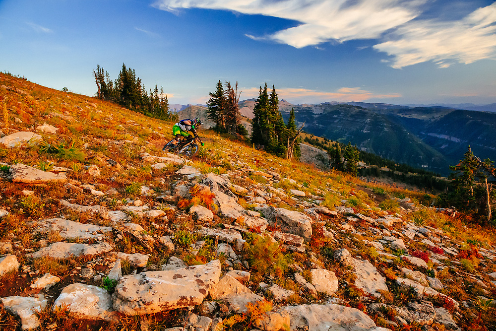 Andrew Whiteford rides the lift accessed Grand Traverse Trail on Grand Targhee off of Fred's Mountain.