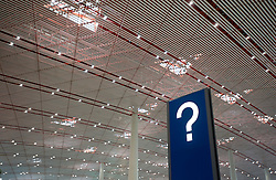 Airport information sign at new Terminal 3 at Beijing International Airport in China