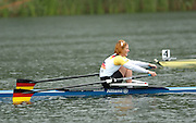 2004 FISA World Cup Regatta Lucerne Switzerland. 20.06.04. Photo Peter Spurrier.Finals day.Women's Single Scull..Gold medal winner - GER W1X Kathrin Rutschow Stomporoski. Rowing Course, Lake Rottsee, Lucerne, SWITZERLAND. [Mandatory Credit: Peter Spurrier: Intersport Images]
