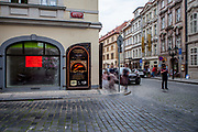 """A former """"Fish Spa"""" which got closed down during the pandemic close to Charles Bridge at the Lesser Town (Mala Strana) in Prague. The Czech government lowered the security measures and as of Monday 25 May 2020, wearing of protective masks will be mandatory only in the interiors of buildings other than the place of residence and in public transport."""