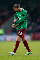 Outfield player Andrew Boyce of Scunthorpe United is brout on as a Goalkeeper after arm injuries to his sides two regular keepers in the first half - Photo mandatory by-line: Rogan Thomson/JMP - 07966 386802 - 17/01/2015 - SPORT - FOOTBALL - Scunthorpe, England - Glanford Park - Scunthorpe United v Bristol City - Sky Bet League 1.
