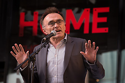 """© Licensed to London News Pictures . 21/05/2015 . Manchester , UK . DANNY BOYLE delivers a speech at the """" HOMEwarming weekend """" - the official opening of HOME - the new £25million arts venue on First Street in Manchester , consisting of cinema complex , theatres and galleries and formerly housed at The Corner House and the Library Theatre , on Manchester's Oxford Road .  Photo credit : Joel Goodman/LNP"""