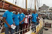 Students from the Lawhill Maritime Centre get to experience the activities and activations in and around the Cape Town race village of the 2014 Volvo Ocean Race. The South African Maritime Safety Association (SAMSA) offers a bursary programme for learners at The Lawhill MAritime Centre in Cape Town. Image by Greg Beadle