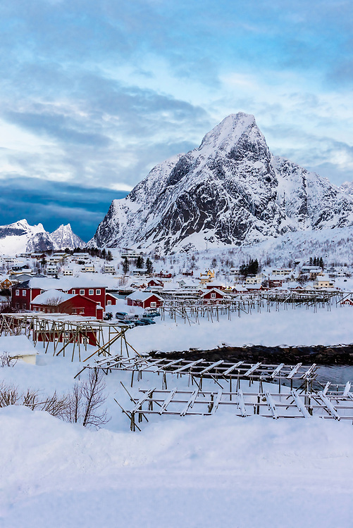 Fish drying racks, the fishing village of Reine, on Moskenseoya Island in the Lofoten Islands, Arctic, Northern Norway.