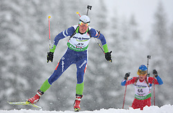 Teja Gregorin of Slovenia during the 7.5 km sprint of the e.on Ruhrgas IBU Biathlon World Cup on Friday December the 11th, 2009 in Hochfilzen - PillerseeTal, Austria. The second e.on Ruhrgas IBU World Cup stage is taking place in Hochfilzen - PillerseeTal, Austria until Sunday the 13th of December.  (Photo by Pierre Teyssot / Sportida.com)