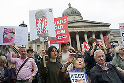 © Licensed to London News Pictures. 04/06/2019. London, UK. Crowds gather in Trafalgar square this morning ahead of a protest against President Donald Trumps state visit to the UK. Photo credit: Joe Newman/LNP
