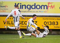 Dunfermline's Faissal El Bahktaoui cele scoring their third goal. <br /> Dunfermline 3 v 2 Ayr United, Scottish League One played at East End Park, 13/2/2016.