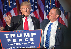 President-elect Donald Trump acknowledges the chairman of the RNC, Reince Priebus, while talking to supporters at the Election Night Party at the Hilton Midtown Hotel in New York City, NY, USA, on Wednesday, November 9, 2016. Photo by J. Conrad Williams Jr./Newsday/TNS/ABACAPRESS.COM