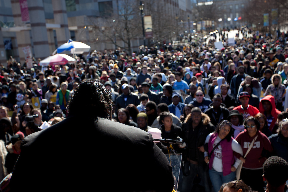 HK On J is a civil rights rally that takes place in February and explores a variety of issues having the most impact on the citizens of North Carolina. The rally assembles on Jones Street in downtown Raleigh, NC and marches down to the state capitol.