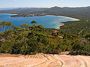 Admire Coles Bay from the Mount Amos Track, in Freycinet National Park, Tasmania, Australia. The Tasman Sea is part of the South Pacific Ocean.
