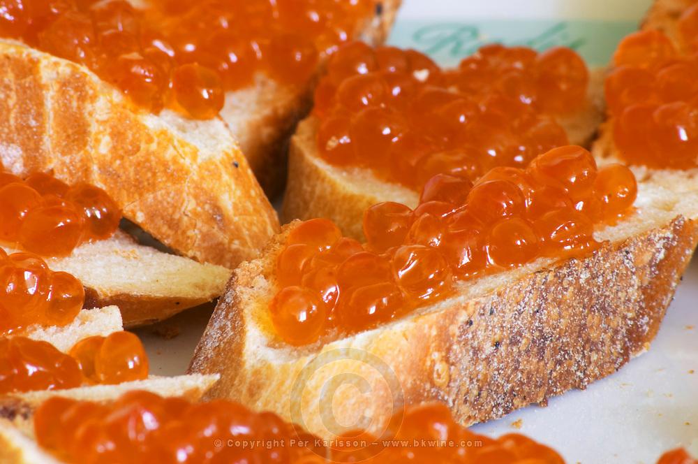 """Salmon eggs on a piece of bread  """"Caviar et Prestige"""" Saint Sulpice et Cameyrac  Entre-deux-Mers  Bordeaux Gironde Aquitaine France - at Caviar et Prestige"""