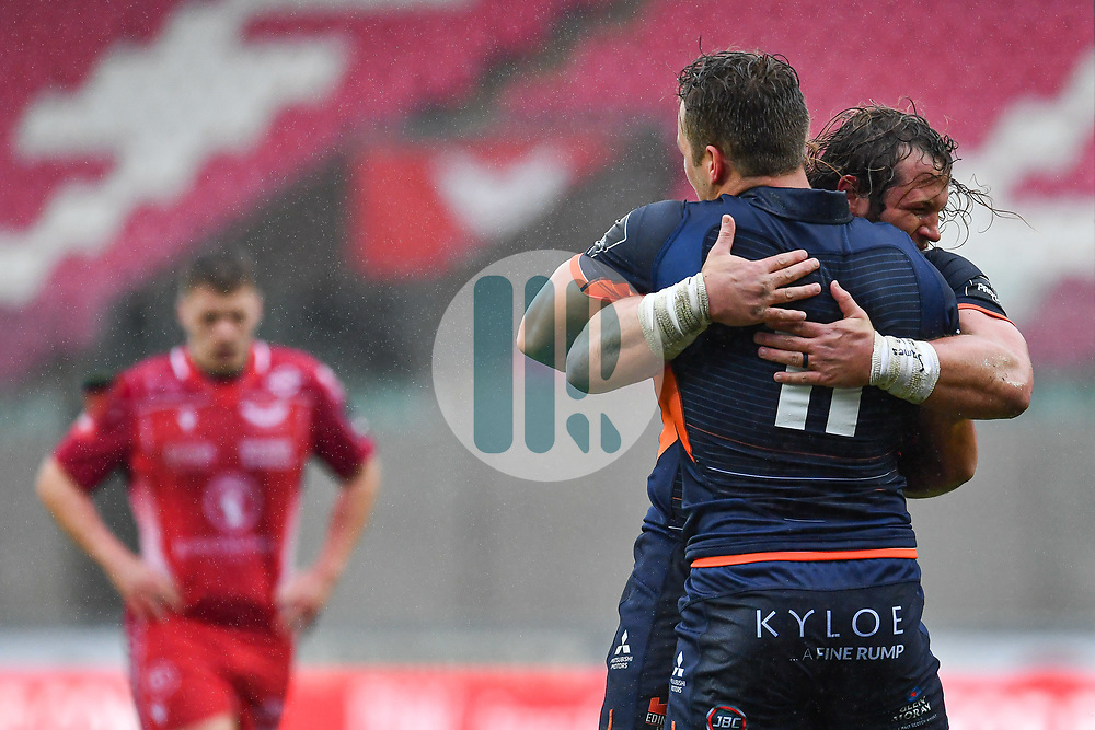 Duhan van der Merwe of Edinburgh. celebrates scoring his sides first try<br /> <br /> Photographer Craig Thomas/Replay Images<br /> <br /> Guinness PRO14 Round 11 - Scarlets v Edinburgh - Saturday 15th February 2020 - Parc y Scarlets - Llanelli<br /> <br /> World Copyright © Replay Images . All rights reserved. info@replayimages.co.uk - http://replayimages.co.uk