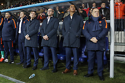 (L-R) caretaker Ricardo de Sanders of Holland, doctor Edwin Goedhart of Holland, goalkeeper trainer Frans Hoek of Holland, assistant trainer Fred Grim of Holland, assistant trainer Ruud Gullit of Holland, coach Dick Advocaat of Holland during the FIFA World Cup 2018 qualifying match between Belarus and Netherlands on October 07, 2017 at Borisov Arena in Borisov,  Belarus