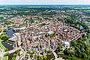 Nederland, Overijssel, Zwolle, 17-07-2017; overzicht binnenstad Zwolle, met onder andere De Peperbus (Onze-Lieve-Vrouwetoren), Grote Kerk, Museum de Fundatie (met witte koepel)<br /> Zwolle is de hoofdstad van de Nederlandse provincie Overijssel en tevens Hanzestad.<br /> Zwolle is the capital of the Dutch province of Overijssel and also a Hanseatic town.<br /> aerial photo (additional fee required);<br /> copyright foto/photo Siebe Swart
