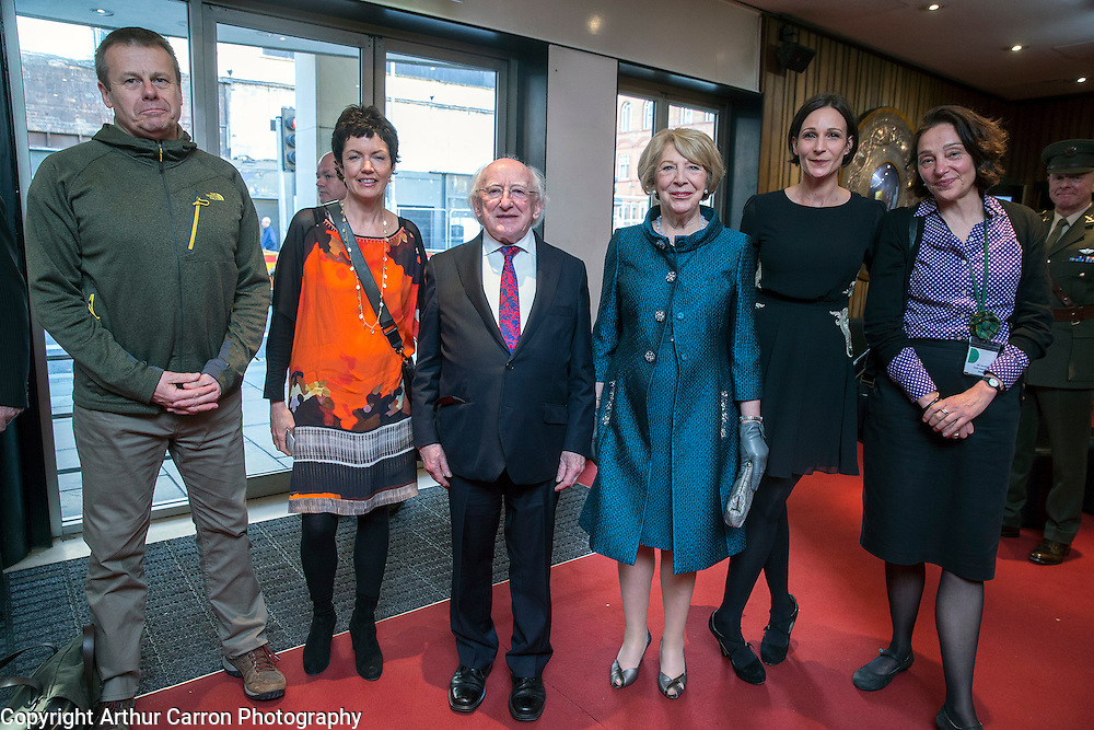 27/5/15 President Michael D Higgins and wife Sabina with Catherine Nunes, Alan Gilsnen, Justine Doswell and Julia Carruthers, Director Dublin Dance Festival at a performance of Bastard Amber at the Abbey Theatre in Dublin. Picture: Arthur Carron