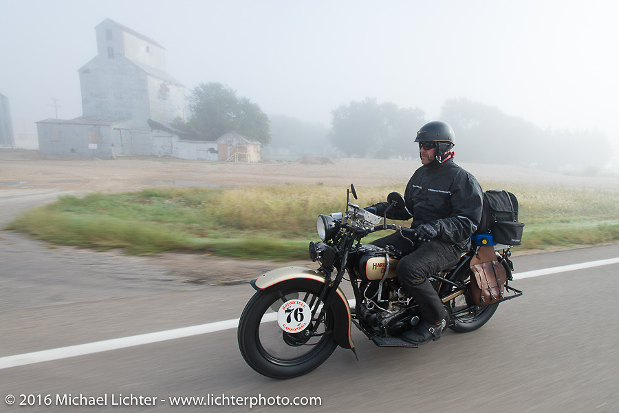 """Robert Gustavsson or """"Big Swede"""" as he is fondly known, riding his 1931 Harley-Davidson VL during Stage 8 of the Motorcycle Cannonball Cross-Country Endurance Run, which on this day ran from Junction City, KS to Burlington, CO., USA. Saturday, September 13, 2014.  Photography ©2014 Michael Lichter."""