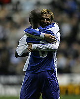 Photo: Lee Earle.<br /> Reading v Liverpool. Carling Cup. 25/09/2007. Reading's Bobby Convey (R) celebrates with Leroy Lita after scoring their first goal.