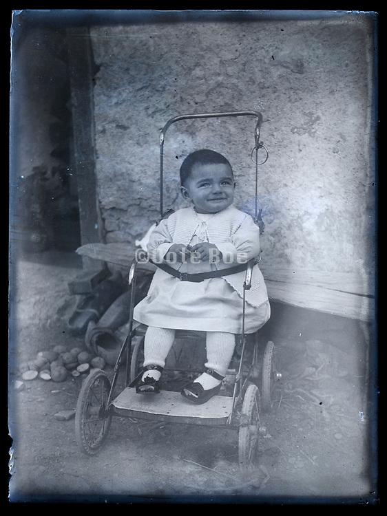 toddler in a stroller portrait France ca 1930s