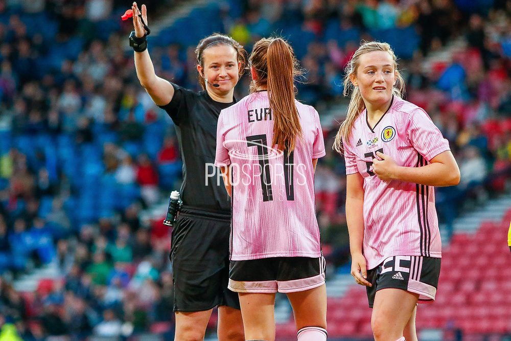 Lisa EVANS (Arsenal WFC (ENG)) of Scotland appeals for a handball to match referee Cheryl Foster during the International Friendly match between Scotland Women and Jamaica Women at Hampden Park, Glasgow, United Kingdom on 28 May 2019.