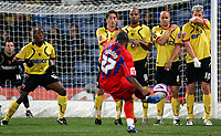 Photo: Tom Dulat.<br /> <br /> Crystal Palace v Watford. Coca Cola Championship. 29/10/2007.<br /> <br /> free kick by Franck Songo'o of Crystal Palace.