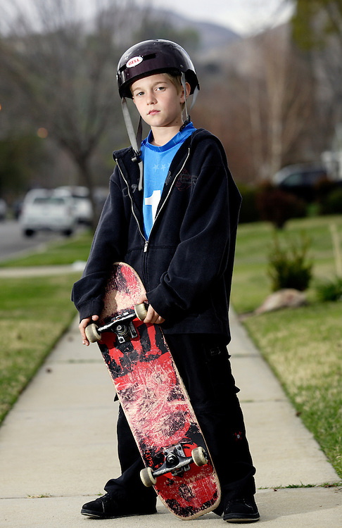 LONG BEACH, CA, FEBRUARY 20, 2007: Casey Bigelow, 10, loves to skateboard. (Photograph by Todd Bigelow/Aurora)