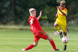 WREXHAM, WALES - Wednesday, July 24, 2019: Daniel Watts of Combined Regional (L) and Tanatswa Nyakuhwa of South (R) during the Welsh Football Trust Cymru Cup 2019 at Colliers Park. (Pic by Paul Greenwood/Propaganda)