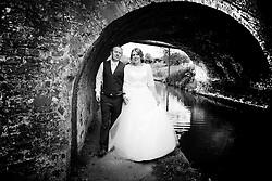 Bride and Groom taking a leisurely stroll along the Grand Union Canal