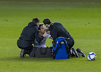Football - Sky Bet Championship - Millwall vs Luton Town - The Den<br /> <br /> Glen Rea (Luton Town) receives treatment his eye/nose after a collision in competing for the header <br /> <br /> COLORSPORT/DANIEL BEARHAM