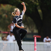 Beth McNeill bowling during the match between New Zealand and Pakistan in the Super 6 stage of the ICC Women's World Cup Cricket tournament at Drummoyne Oval, Sydney, Australia on March 19, 2009. New Zealand won the match by 223 runs. Photo Tim Clayton