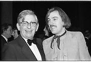 1980-03-09.9th March 1980.09-09-1980.03-09-80..Photographed at RTE Montrose, Dublin..What's Another Year..From Left:..Donal Crosbie (left), Director of Cork Examiner, congratulates Shay Healey, who wrote the winning song What's Another Year...